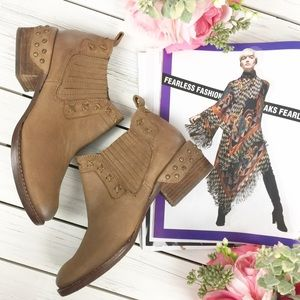 Naughty Monkey Studded Boho Brown Ankle Boots 6.5